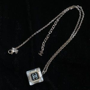 CHANEL Lucite CC Square Charm Necklace